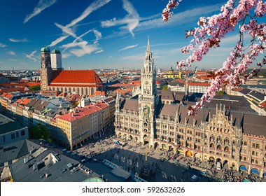 Aerial view of Munchen at spring: Marienplatz, New Town Hall and Frauenkirche