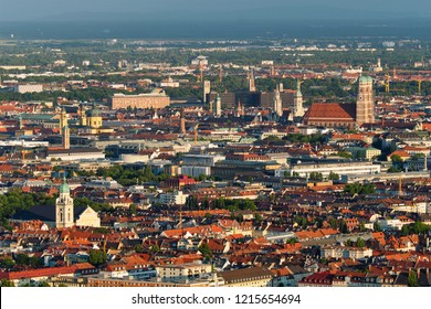 Aerial view of Munich center from Olympiaturm (Olympic Tower) on sunset. Munich, Bavaria, Germany