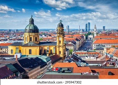 Aerial view of Munich over Theatine Church of St. Cajetan (Theatinerkirche St. Kajetan) and Odeonplatz, Munich, Bavaria, Germany in day time