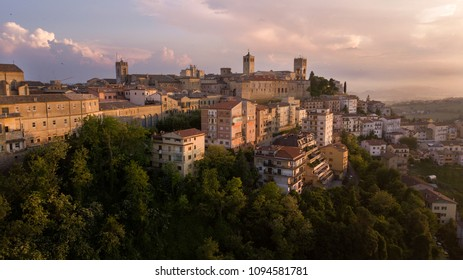 Aerial view of the municipality of Osimo, in the province of Ancona, in the Marche region, in Italy. The historic center, located on the highest hill of the city, called Gòmero, is a mountain tourist