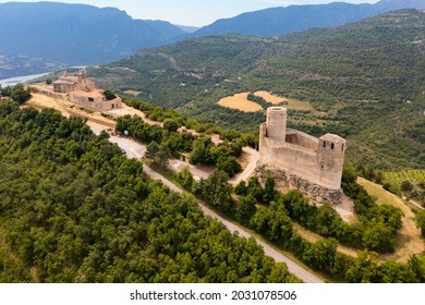 Aerial view of Mur castle in Castell de Mur municipality in northeastern Spain, province of Lleida, Catalonia