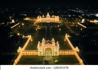 Aerial view of Mysore Palace at night, Karnataka state, India