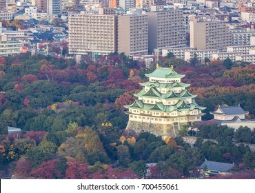 Aerial view of Nagoya Castle with Nagiya downtown skyline