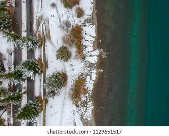 Aerial view of the Nahuel Huapi lake after a snowfall