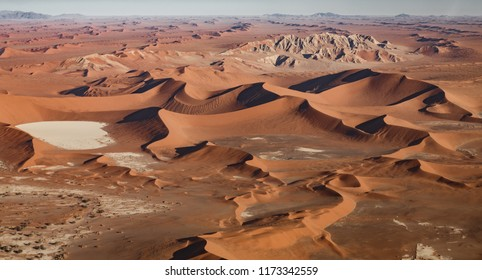 Aerial view of Namib desert with dunes