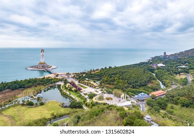 Aerial View of Nanshan Buddhism Cultural Zone in Sanya, Hainan, a Top Scenic and Resort Area in China, Known for its Guanyin Statue and Buddhism Temples