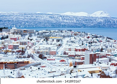 Aerial view of Narvik Cityscape at dusk Norway