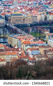 Aerial view of the National Theater, the Vltava river and surrounding buildings in Prague, Czech Republic, Europe