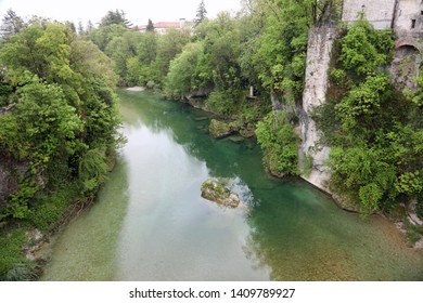 aerial view of Natisone River on Cividale Town in Friuli Region in Northern Italy