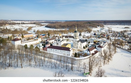 Aerial view of Nativity of the Virgin St. Paphnutius of Borovsk Monastery in winter, Kaluga oblast, Russia