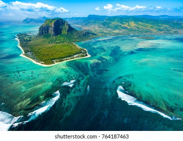 Aerial view of the nature reef in a beautiful colorful bay, Mauritius island