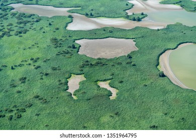 Aerial view of a nature reserve area in The Netherlands. It is located in lake Oostvaardersplassen between Almere and Lelystad. Because of the drought some water bassins are completely dry.