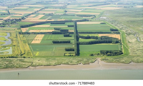 Aerial view of nature reserve area the Hedwigepolder. In the front river Schelde on the Dutch Belgium border.