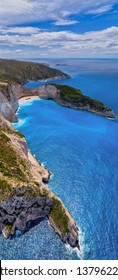 Aerial view of Navagio (Shipwreck) Beach in Zakynthos island, Greece. Navagio Beach is a popular attraction among tourists visiting the island of Zakynthos