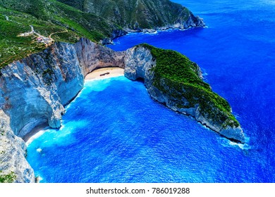 Aerial view of Navagio (Shipwreck) Beach in Zakynthos island, Greece. Navagio Beach is a popular attraction among tourists visiting the island of Zakynthos. The best beaches in the world