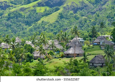 Aerial view of Navala village in the Ba Highlands of northern-central Viti Levu, Fiji. It is one of the few settlements in Fiji which remains fully traditional architecturally.