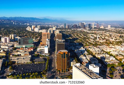 Aerial view near Century City in Los Angeles, CA