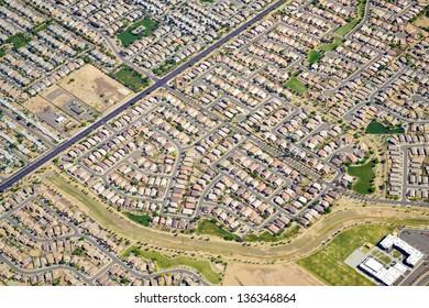 Aerial View of a Neighborhood in Phoenix, Arizona