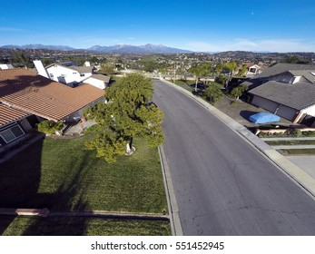 Aerial View of Neighborhood Southern California and Mt. Baldy