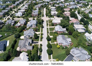 Aerial view of a neighborhood in suburban Chicago during summer.