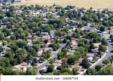 Aerial view of neighborhood suburbs around the city of Reno, Nevada, USA