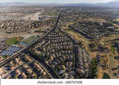 Aerial view of neighborhoods along Rampart Blvd in the Summerlin community of Las Vegas, Nevada.