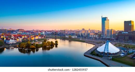 Aerial view of Nemiga, Minsk. Belarus