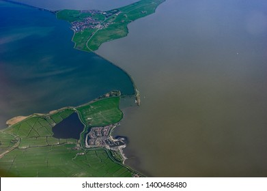 Aerial view of the Netherlands coastal area with the protective dams against flood