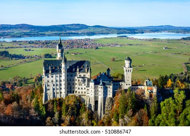 Aerial View of Neuschwanstein Castle (Schloss)