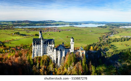 Aerial View of Neuschwanstein Castle (Schloss), Fuessen, Germany