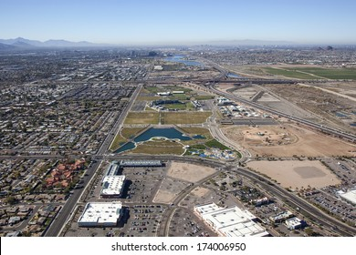 Aerial view of new baseball facility in west Mesa, Arizona looking towards Tempe and Phoenix