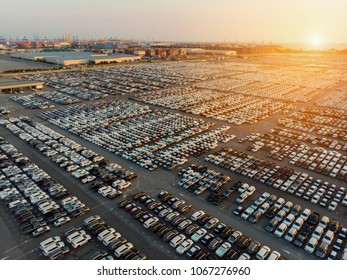 Aerial view a lot of new car for import and export shipping by ship.