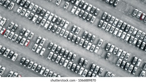 Aerial view new cars lined up in the port
