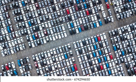 Aerial view new cars lined up in the port for import and export.