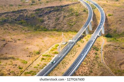 Aerial view to new highway bridge near Saint Paul on Reunion Island, France.