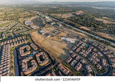 Aerial view of new homes, shopping center construction, Rinaldi Street and the 118 freeway in the Porter Ranch community of Los Angeles, California.