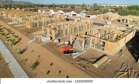 Aerial view of new homes under construction in a suburban area in Arizona