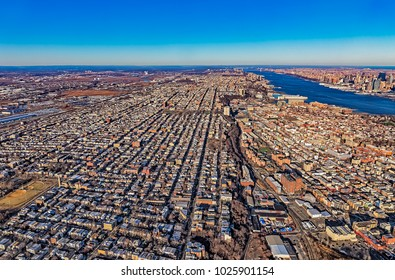 Aerial view of the New Jersey residental aeria on the beautiful winter day, USA.