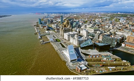 Aerial View Of New Liverpool Cityscape Landmarks
