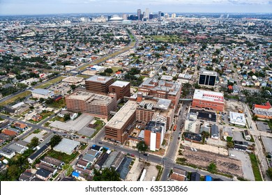 Aerial view of New Orleans, Louisiana skyline from above hospital in 2006