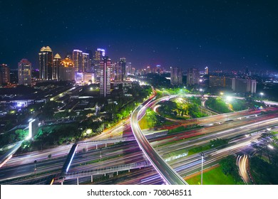 Aerial view of new Semanggi road intersection in the central business. shot at beautiful night