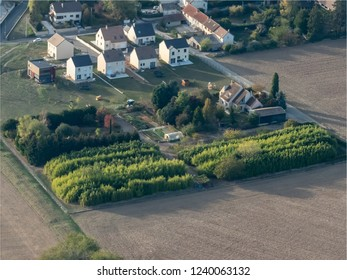 aerial view of new subdivision at Saulx-Marchais in the department of Yvelines in France