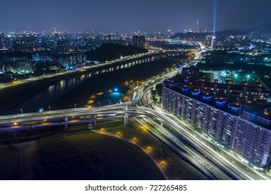 Aerial view of new Taipei city at night, Taiwan