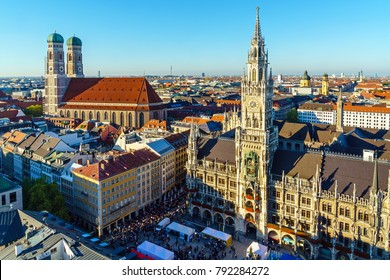 Aerial view of The New Town Hall and Marienplatz before sunset, Munich city, Bavaria, Germany