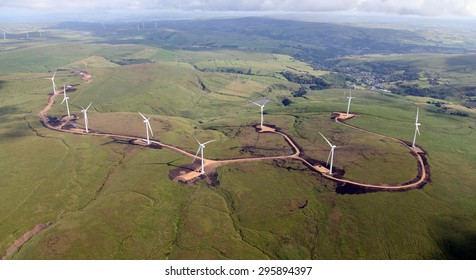 aerial view of a new wind farm under construction on hills in the North of England