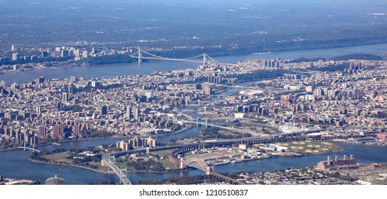 Aerial view of New York City with the George Washington bridge connecting New York to New Jersey at Ft. Lee.