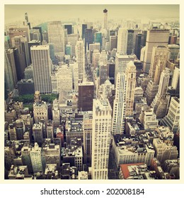 Aerial view of the New York City Skyline with instagram style filter