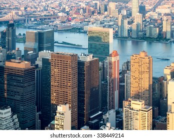 Aerial view of New York City including the UN headquarters building