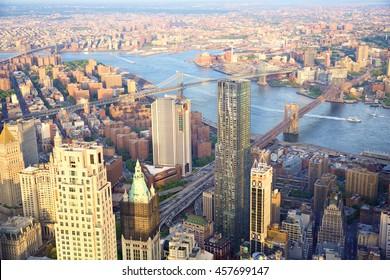 Aerial view of New York City skyline with Three Bridges