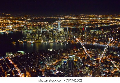 Aerial view of New York City nighttime